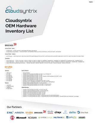 Cloudsyntrix OEM Hardware Inventory List 2
