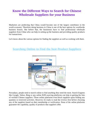 Know the Different Ways to Search for Chinese Wholesale Suppliers for your Business