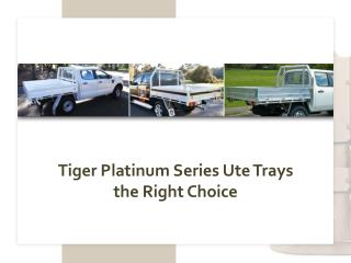 Tiger Platinum Series Ute Trays the Right Choice