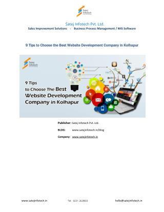 9 Tips to Choose the Best Website Development Company in Kolhapur