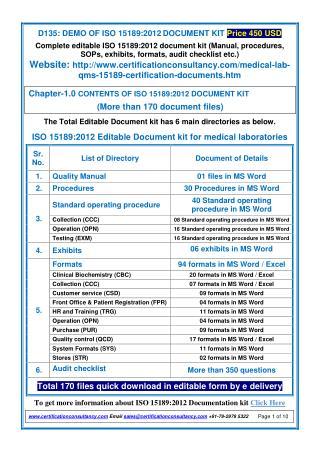 ISO 15189:2012 Documentation Kit - Manual, Procedures in English