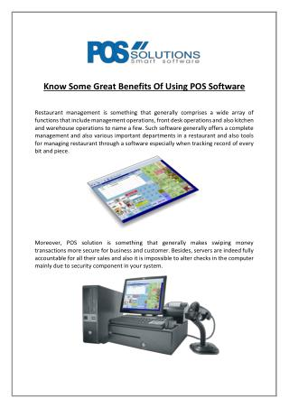Know Some Great Benefits Of Using POS Software
