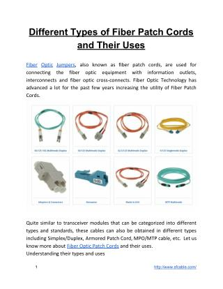 Different Types of Fiber Patch Cords and Their Uses