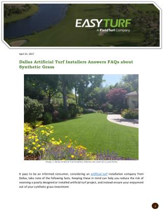 Dallas Artificial Turf Installers Answers FAQs about Synthetic Grass
