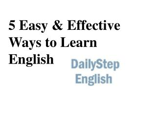 5 Easy & Effective Ways to Learn English