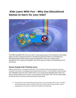 Kids Learn With Fun - Why Use Educational Games to learn for your kids?