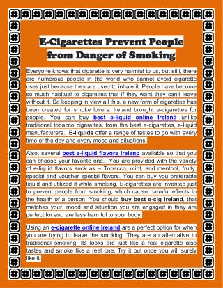 E-Cigarettes Prevent People from Danger of Smoking