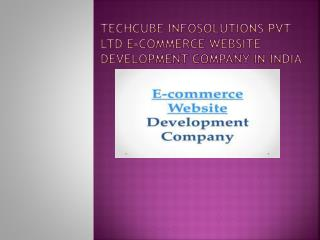 Techcube Infosolutions Pvt Ltd  E-commerce website development company India.