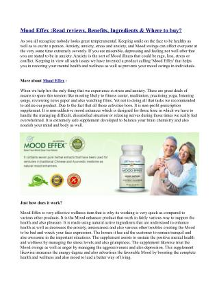 Mood Effex :Read reviews, Benefits, Ingredients & Where to buy?