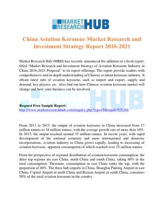 China Aviation Kerosene Market Research and Investment Strategy Report 2016-2021
