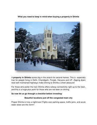 What you need to keep in mind when buying a property in Shimla