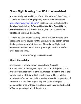 Cheap Flight Booking from USA to Ahmadabad
