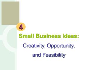 Small Business Ideas: Creativity, Opportunity,  and Feasibility