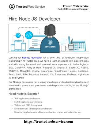 Hire Node.JS Developer | Node.JS Development Company in India