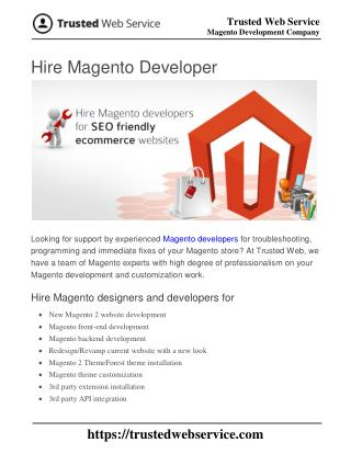 Hire Magento Developer | Magento Development Company in India