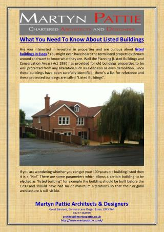 What You Need To Know About Listed Buildings