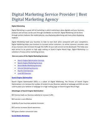 Digital Marketing Service Provider | Best Digital Marketing Agency