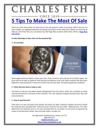 5 Tips To Make The Most Of Sale