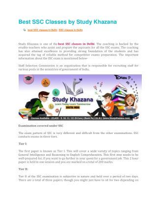Best SSC Classes by Study Khazana