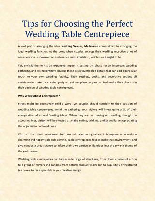 Tips for Choosing the Perfect Wedding Table Centrepiece