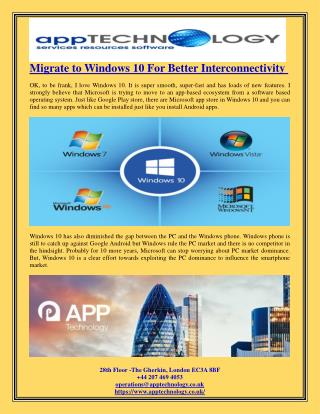 Migrate to Windows 10 For Better Interconnectivity