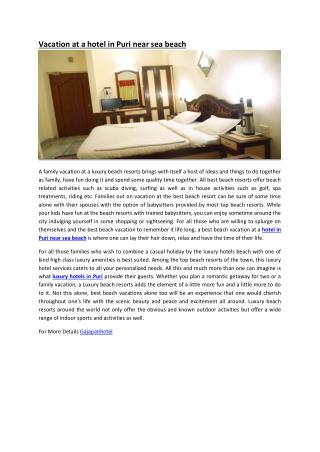 Vacation at a hotel in Puri near sea beach