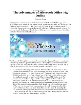 The Advantages of Microsoft office 365 Online