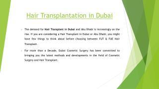 Hair transplantation in dubai