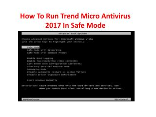 How To Run Trend Micro Antivirus 2017 In Safe Mode