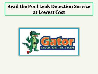 Avail the Pool Leak Detection Service at Lowest Cost