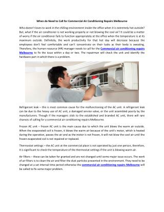 When do Need to Call for Commercial Air Conditioning Repairs Melbourne