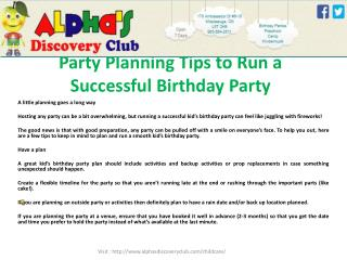 Party Planning Tips to Run a Successful Birthday Party