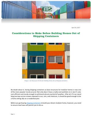 Considerations to Make Before Building Homes Out of Shipping Containers