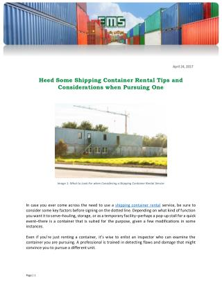 Heed Some Shipping Container Rental Tips and Considerations when Pursuing One