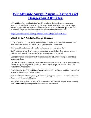WP Affiliate Surge Plugin Review & (Secret) $22,300 bonus