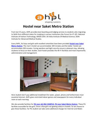 Hostel near Saket Metro Station