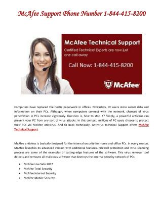 McAfee Support Phone Number 1-844-415-8200 USA