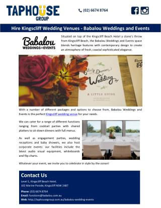 Hire Kingscliff Wedding Venues - Babalou Weddings and Events