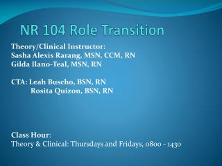 NR 104 Role Transition