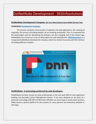Dotnetnuke Development Company Services  | Dnn Module Development