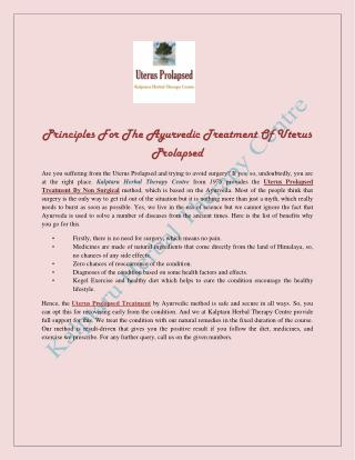 Principles For The Ayurvedic Treatment Of Uterus Prolapsed