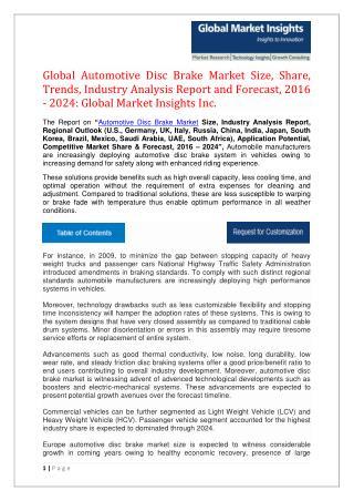 Automotive Disc Brake Market Industry Trends, Statistics, Analysis by 2024