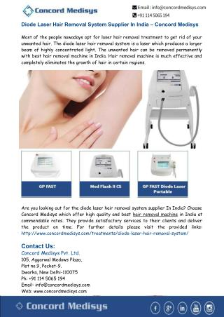 Diode Laser Hair Removal Machine Supplier India