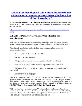 WP Master Developer Code Editor for WordPress review and Exclusive $26,400 Bonus
