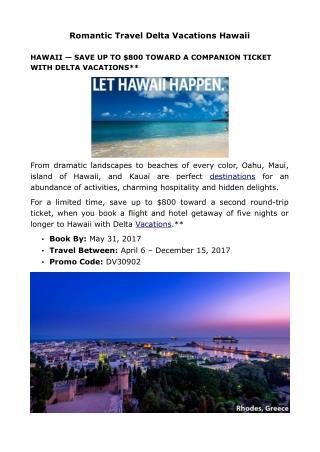 Romantic Travel Delta Vacations Hawaii