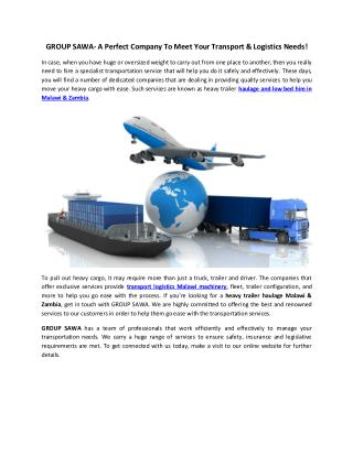 Haulage and Low Bed Hire in Malawi & Zambia - GROUP SAWA