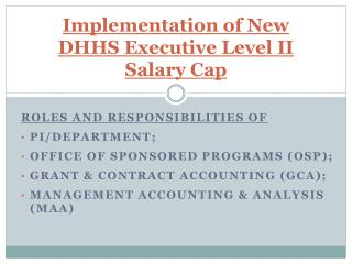 Implementation of New DHHS Executive Level II Salary Cap