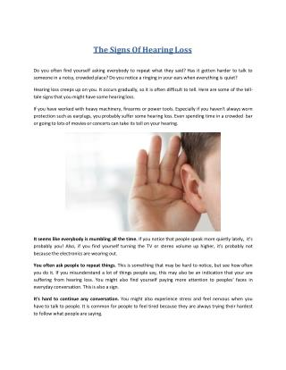 The Of Hearing Loss