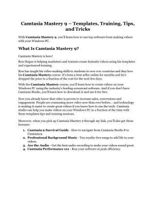Camtasia Mastery 9 review- Camtasia Mastery 9 $27,300 bonus & discount