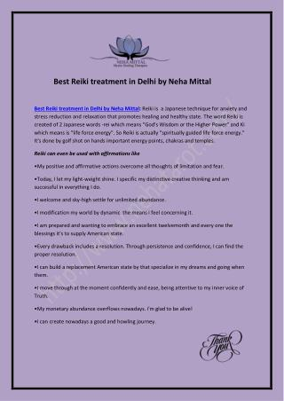 Best Reiki treatment in Delhi by Neha Mittal